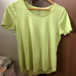 Chico's the ultimate tee yellow green color